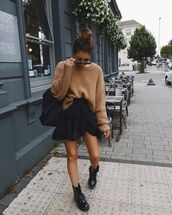skirt,mini skirt,black skirt,black boots,lace up boots,patent boots,knitted sweater,black bag