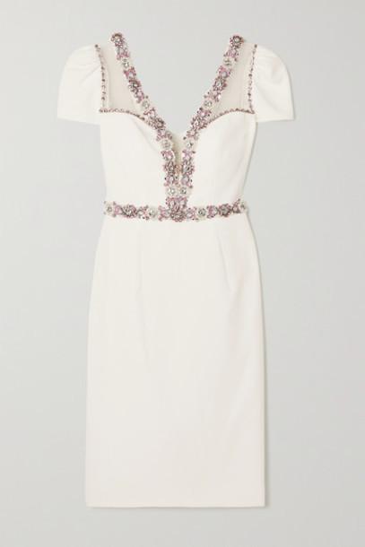 Jenny Packham - Panache Embellished Stretch-crepe And Tulle Midi Dress - Ivory