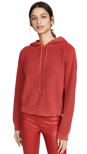 RtA Marvin Cropped Hoodie in red