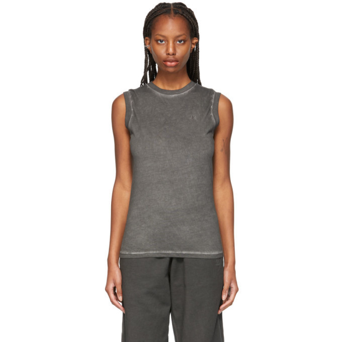 Helmut Lang Grey Garment-Dyed Muscle Tank Top in charcoal