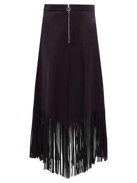 Officine Générale - Camelia Fringed Wool-blend Midi Skirt - Womens - Navy