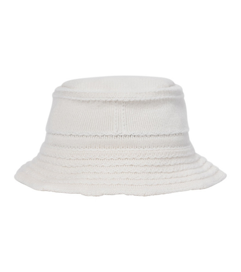 Barrie Cashmere and cotton bucket hat in white