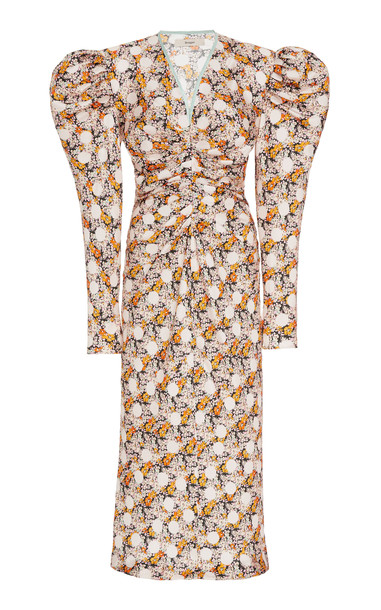 Brøgger Liva Silk Floral Midi Dress in pink