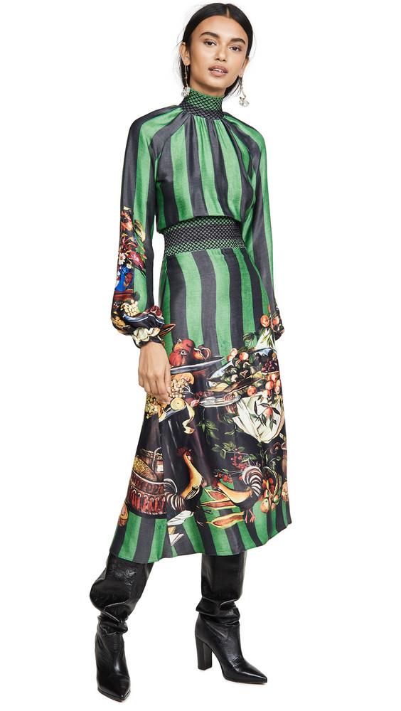 Stella Jean Striped Turtleneck Dress in green / multi