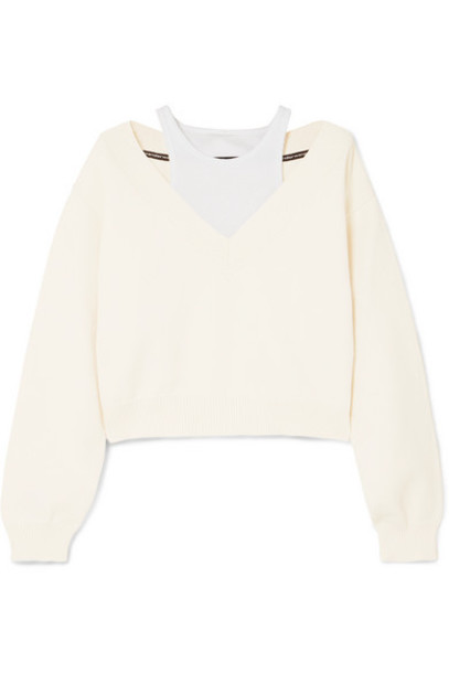 alexanderwang.t - Cropped Layered Knitted And Stretch-cotton Jersey Sweater - Cream