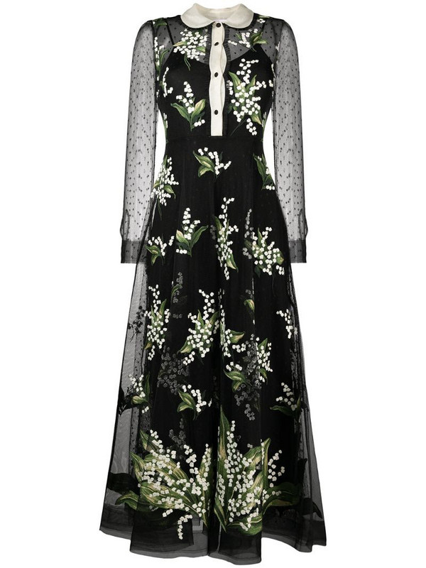 RED Valentino floral-embroidered flared dress in black