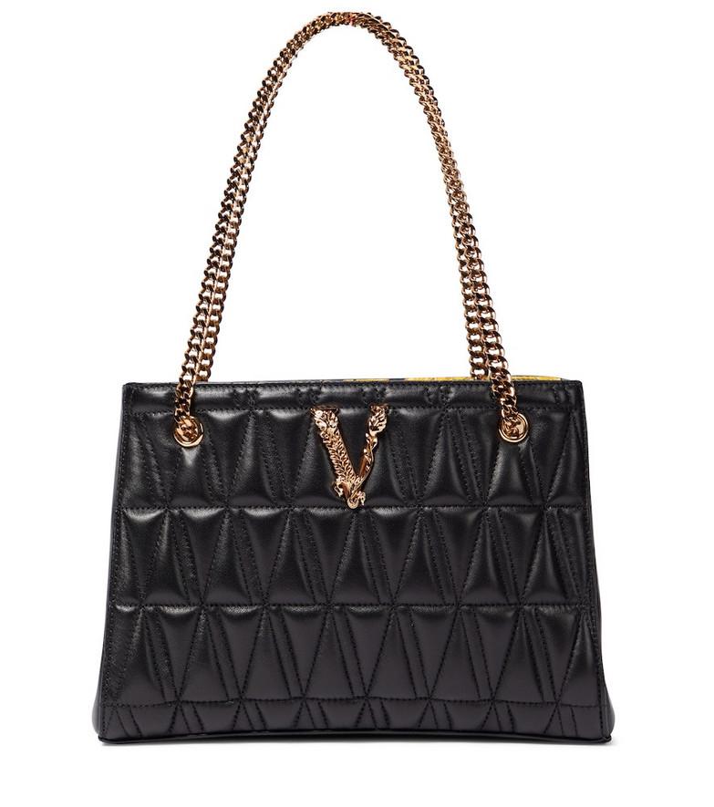 Versace Virtus Small leather shoulder bag in black