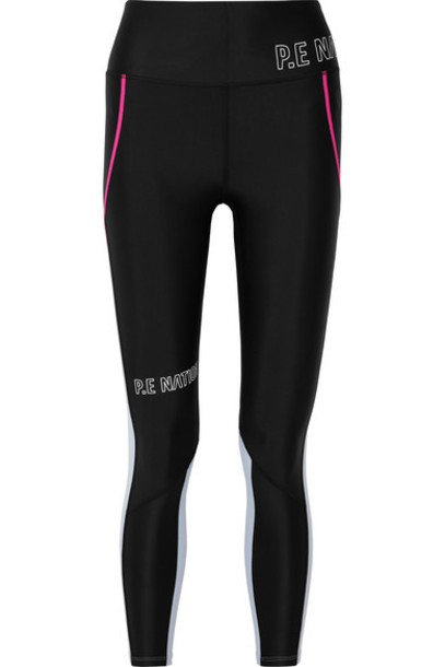 P.E NATION - Saber Printed Two-tone Stretch Leggings - Black