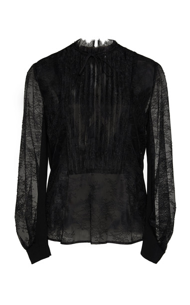 Lela Rose Pleated Yoke Chantilly Lace Blouse in black