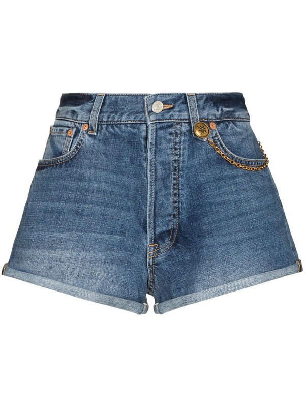 Givenchy chain-link detail denim shorts in blue