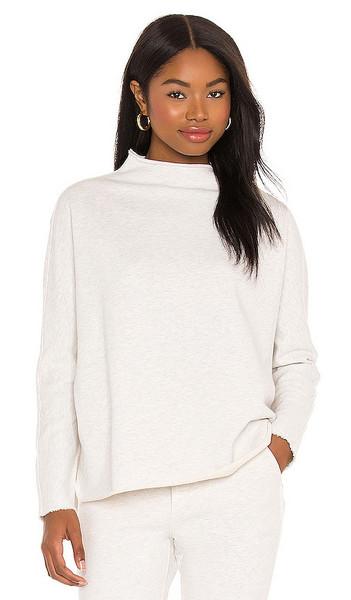Frank & Eileen Long Sleeve Funnel Neck Capelet Sweatshirt in Light Grey in white