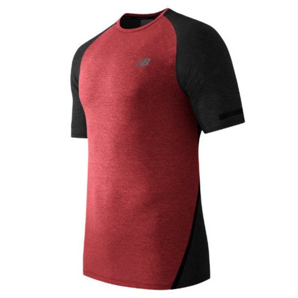 New Balance 61021 Men's Trinamic Short Sleeve Top - Chrome Red, Heather Charcoal (MT61021CHH)