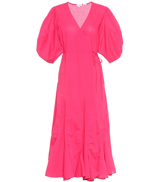 RHODE Fiona cotton wrap dress in pink