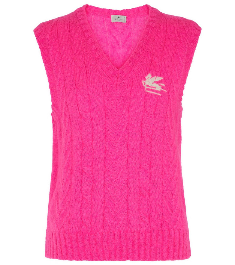 ETRO Mohair-blend sweater vest in pink