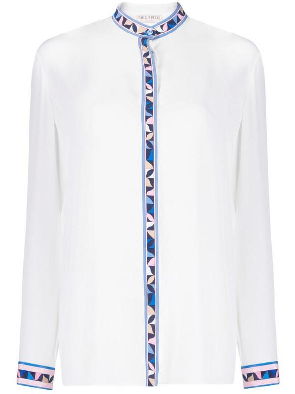 Emilio Pucci geometric print silk shirt in white