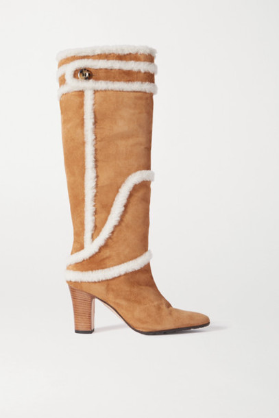 Manolo Blahnik - Cluntius Shearling-trimmed Suede Knee Boots - Tan