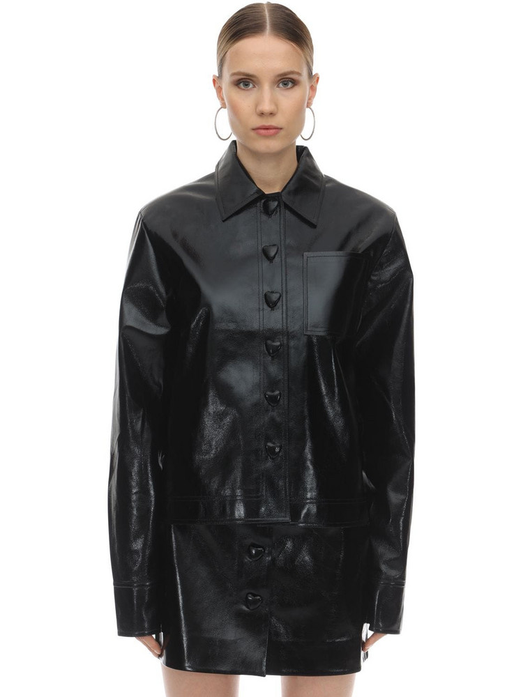 GEORGE KEBURIA Heart Button Faux Leather Shirt in black
