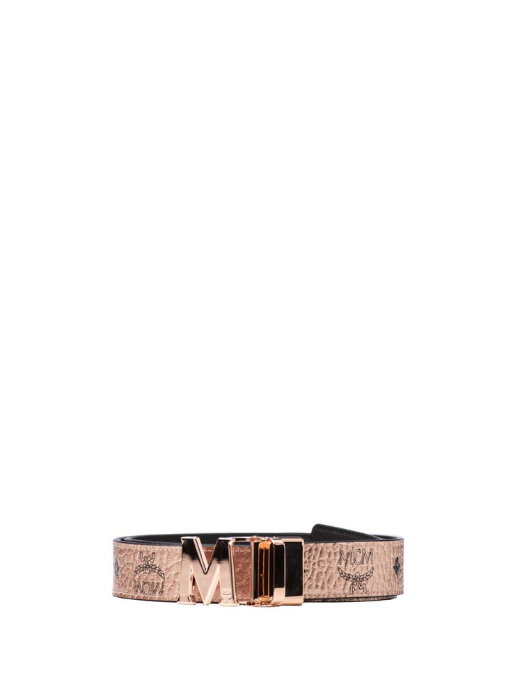 MCM Mcm Visetos Buckle Belt in gold / rose