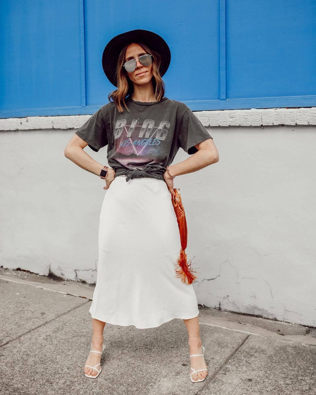top black t-shirt white skirt midi skirt white sandals hat handbag