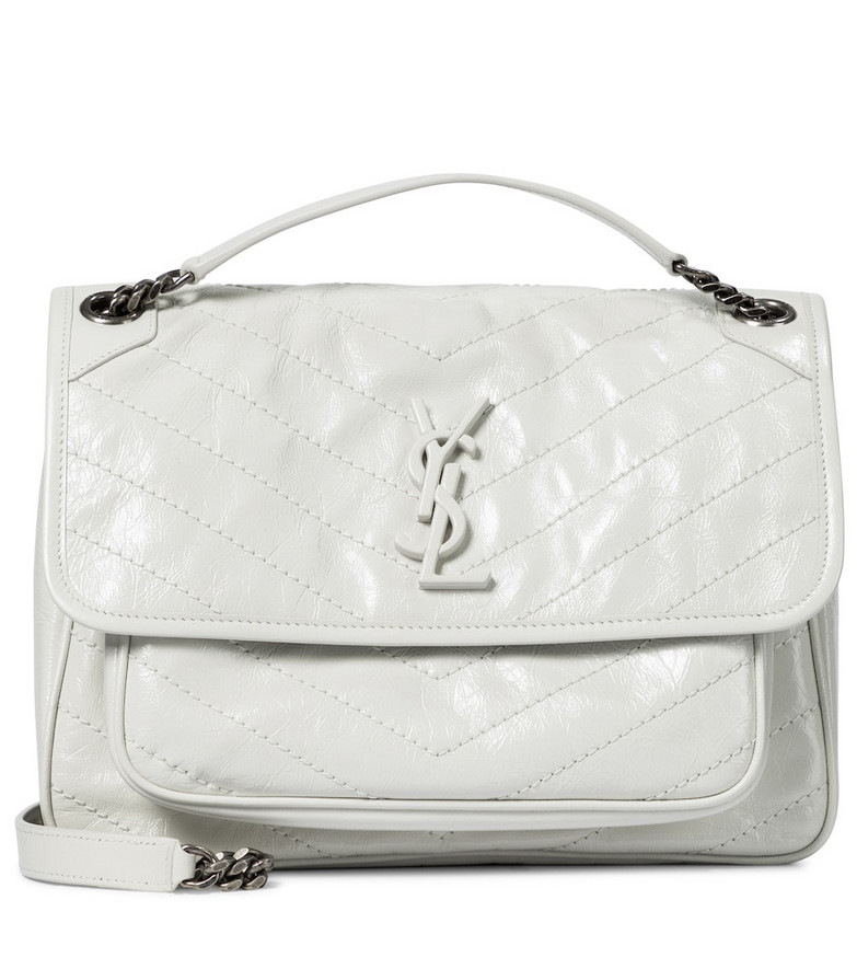 Saint Laurent Niki Medium leather shoulder bag in white
