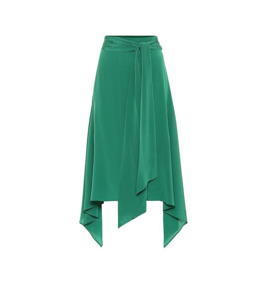 Joseph Silk midi skirt in green