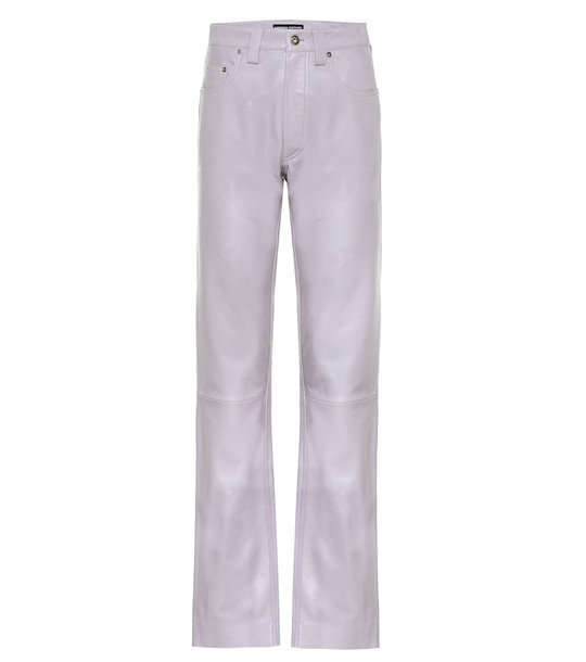 Kwaidan Editions High-rise straight leather jeans in purple