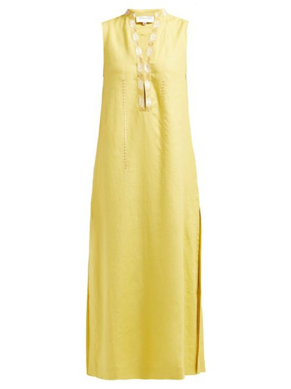 Zeus + Dione Zeus + Dione - Persephone Embroidered Linen Midi Dress - Womens - Yellow