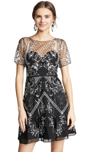 Marchesa Notte Chiffon Dotted Tulle Cocktail Dress in black