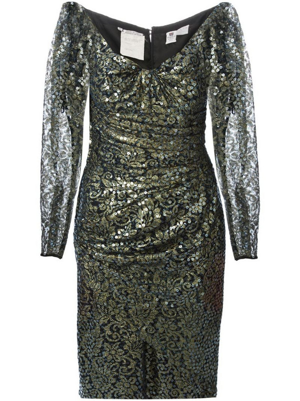 Emanuel Ungaro Pre-Owned sequin and lace dress in black