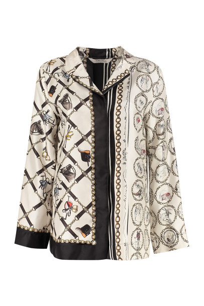 S Max Mara Here is The Cube Scacco Printed Silk Blouse in ivory
