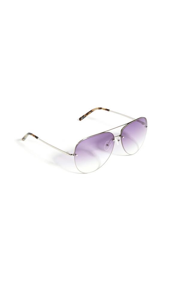 Linda Farrow Luxe Matthew Williamson x Linda Farrow Clover Sunglasses in taupe / grey / violet / silver