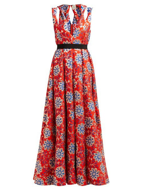 Maison Rabih Kayrouz - Grosgrain Belt Floral Brocade Gown - Womens - Red Multi