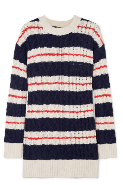 J.Crew - Gabby Striped Cable-knit Merino Wool-blend Sweater - Navy