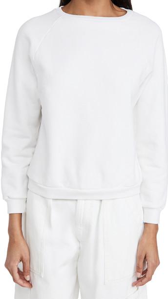 Nili Lotan Classic Crew Neck Sweatshirt in white