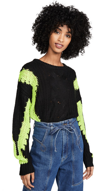 J.O.A. J.O.A. Contrast Cable Knit Sweater in black
