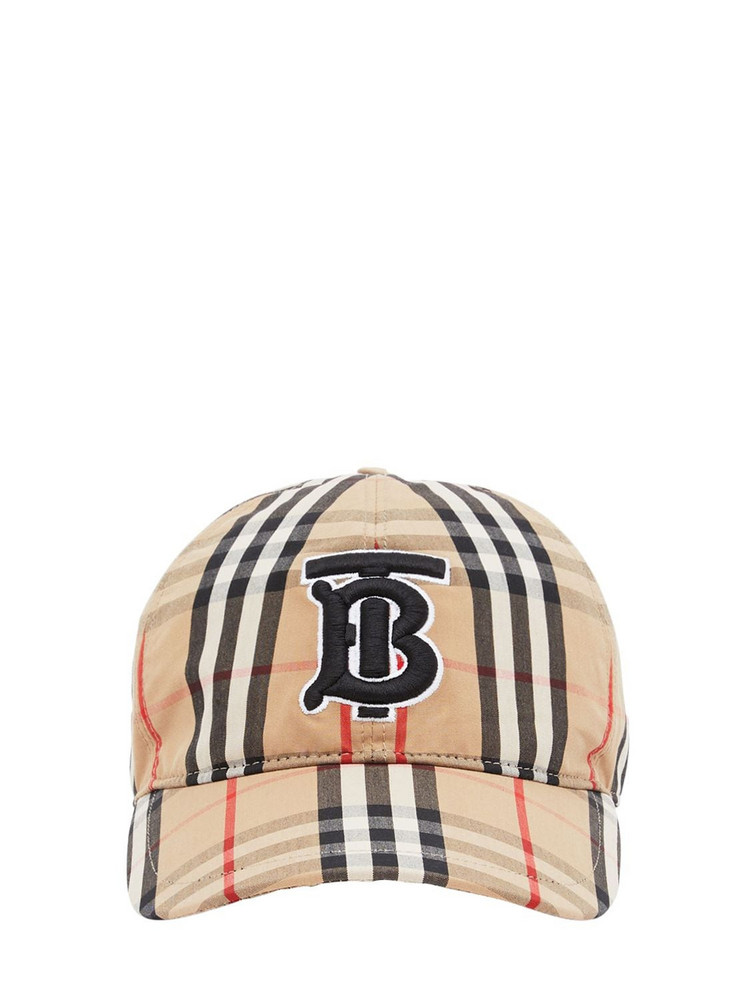 BURBERRY Tb Logo Check Cotton Canvas Baseball Hat in beige