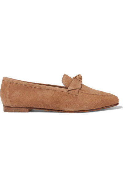 Alexandre Birman - Becky Bow-embellished Suede Loafers - Tan