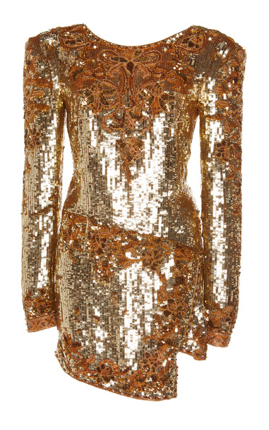 Dundas Sequin Georgette Dress in yellow