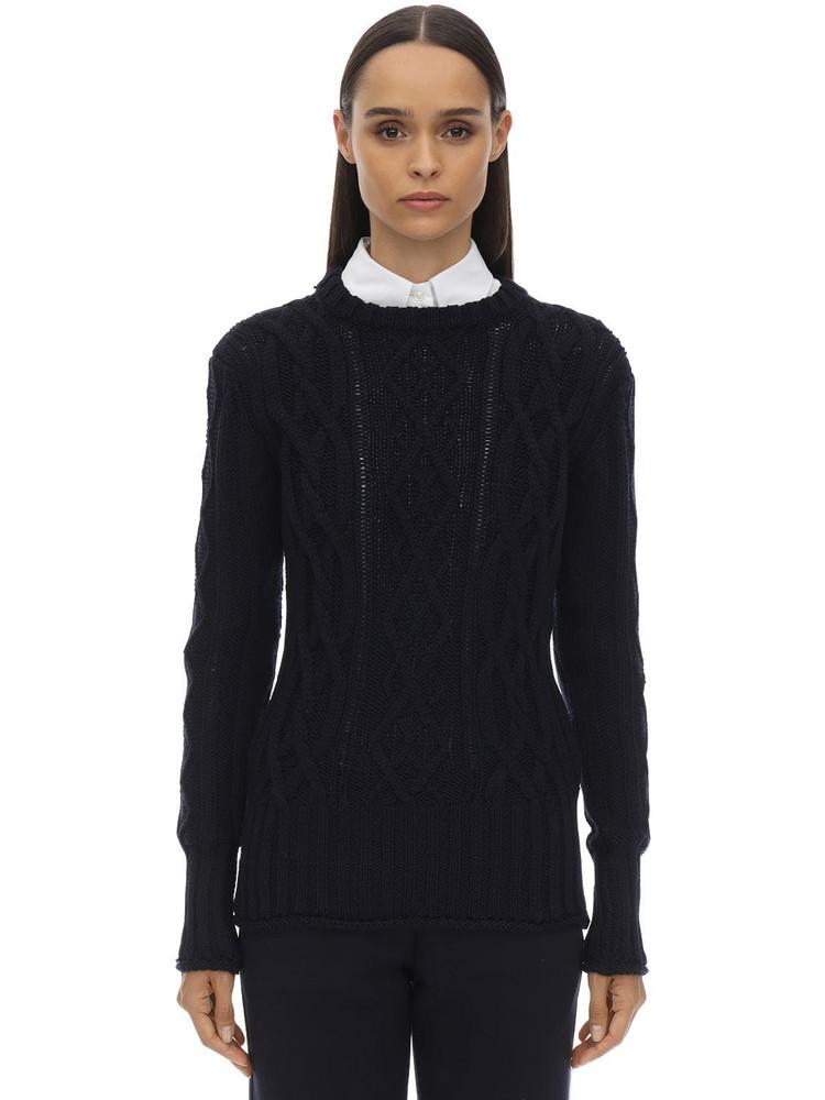 THOM BROWNE Crewneck Merino Wool Knit Sweater in navy