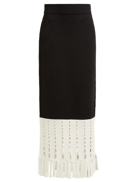 Staud - Garage Stretch Knit Maxi Skirt - Womens - Black White