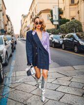 bag,silver,blazer dress,knee high boots