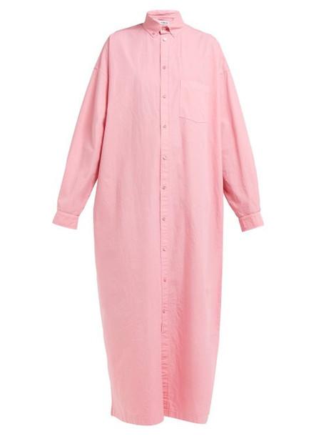 Balenciaga - Oversized Cotton Poplin Shirtdress - Womens - Pink