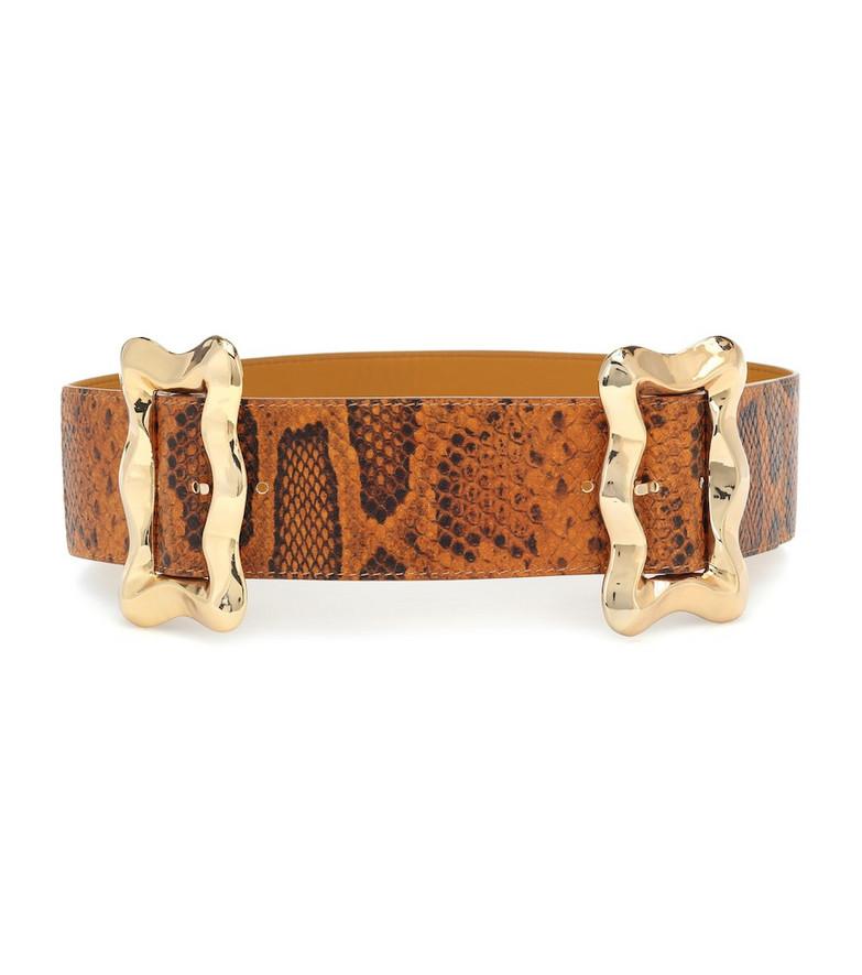 Rejina Pyo Luna python-effect leather belt in brown