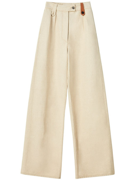 LOEWE Cotton & Linen Canvas Flare Trousers in beige