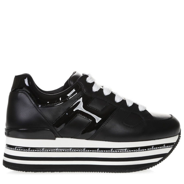 Hogan Sneakers In Black Leather With Raised Sole