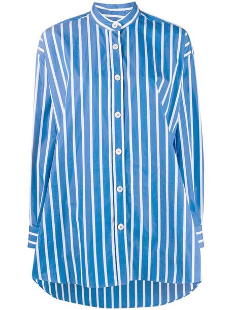 Odeeh striped long cotton shirt in blue
