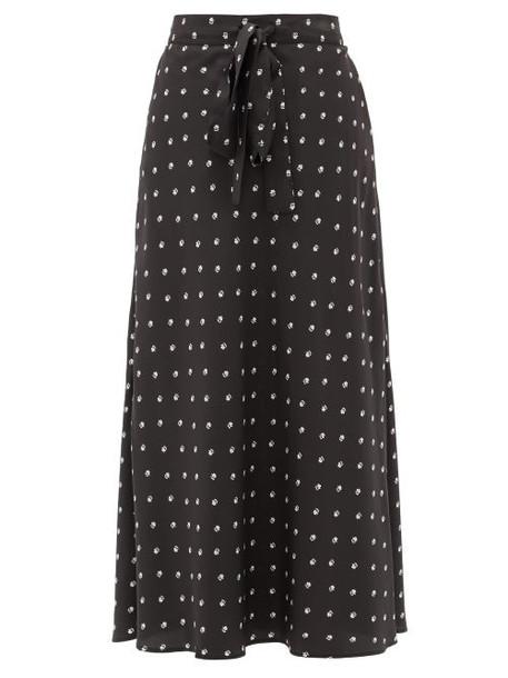 Lee Mathews - Roxie Floral-print Silk Midi Skirt - Womens - Black Print