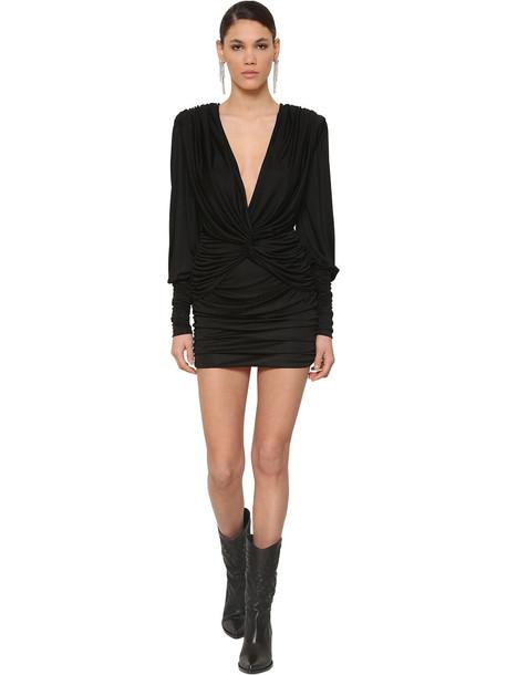 REDEMPTION Double Twist Viscose Mini Dress in black