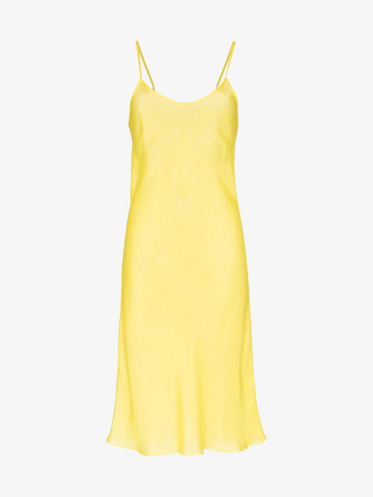 Lee Mathews Agnes silk slip dress in yellow