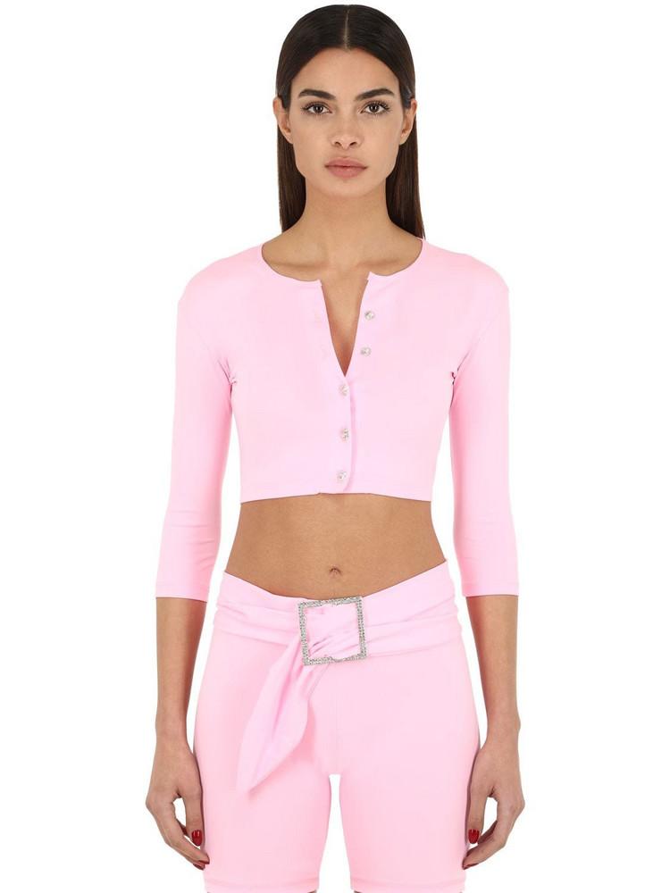 AYA MUSE Cropped Nylon Micro Cardigan in pink